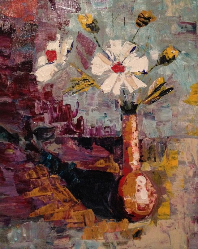 Vase of White Flowers - Palette Knife