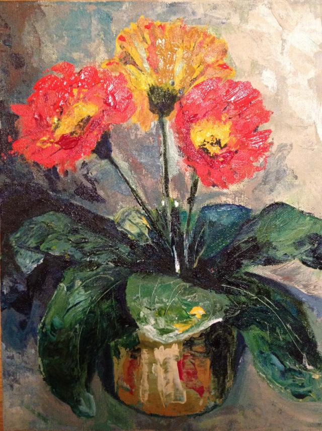 Orange Palette Knife Flowers